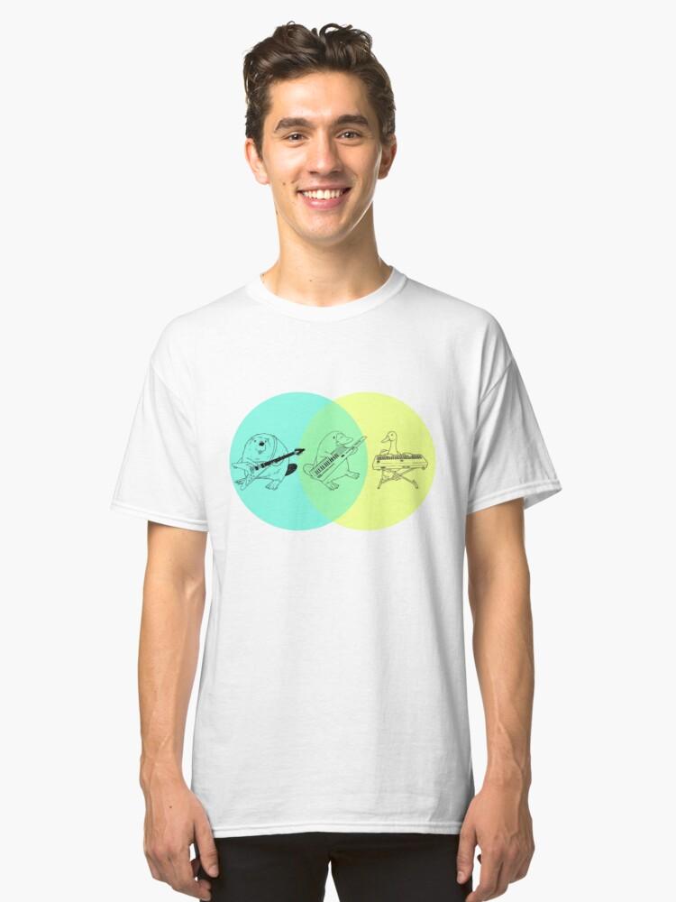 Keytar Platypus Venn Diagram Classic T-Shirt Front