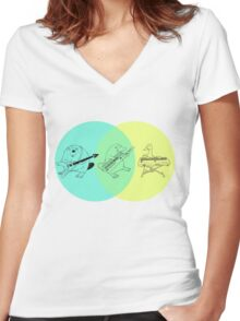 Keytar Platypus Venn Diagram Women's Fitted V-Neck T-Shirt
