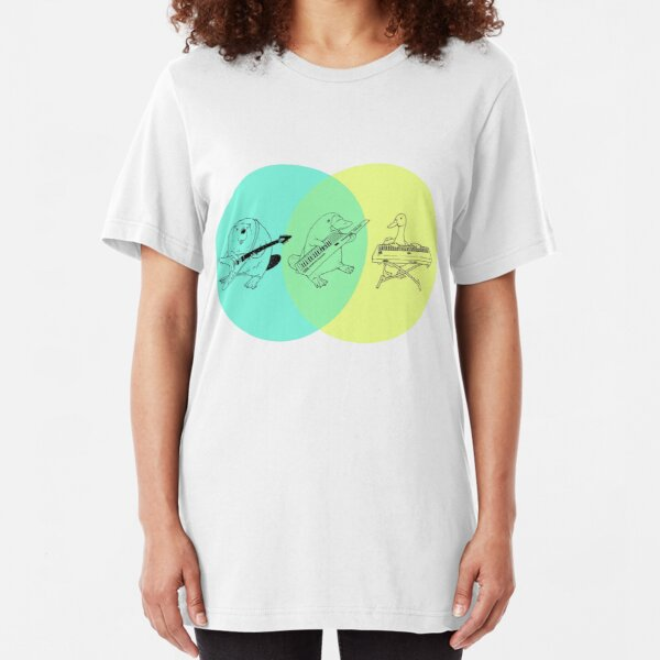 Keytar Platypus Venn Diagram Slim Fit T-Shirt