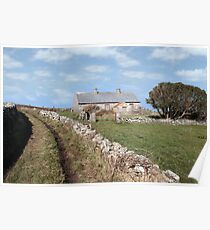 abandoned cottage in county Kerry Ireland Poster