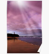 ballybunion beach castle and waves Poster