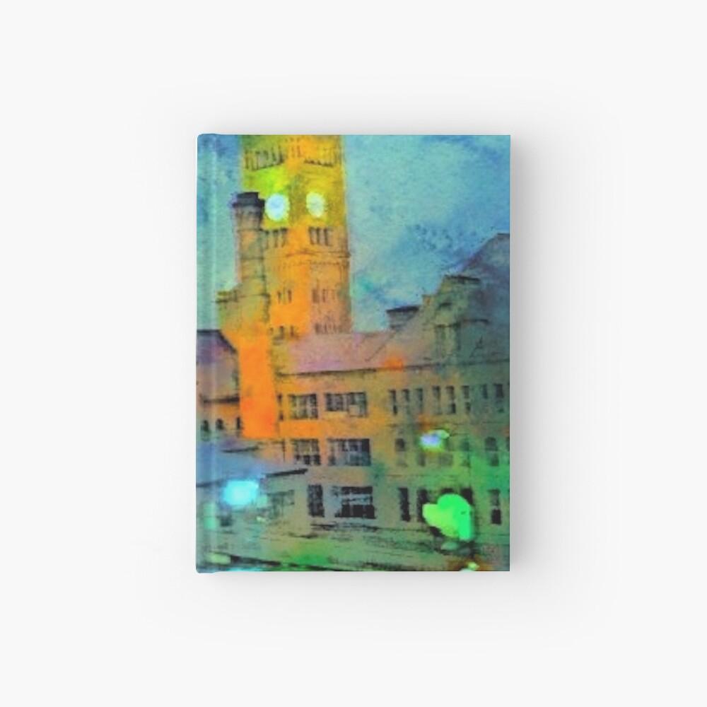Clock Tower in Rain Hardcover Journal