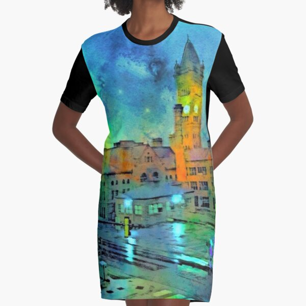 Clock Tower in Rain Graphic T-Shirt Dress