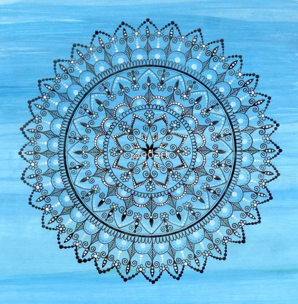 Hand Drawn Intricate Blue Mandala by Zedart