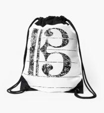 Tenor Clef Vintage Black Drawstring Bag