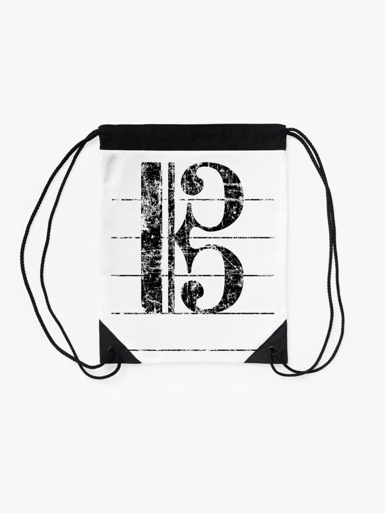 Alternate view of Tenor Clef Vintage Black Drawstring Bag