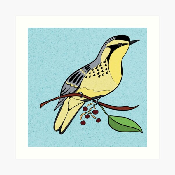 Yellow Bird Yellow-Throated Warbler Songbird 4 of 9 Art Print