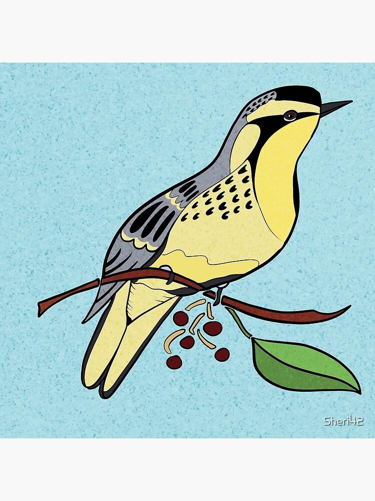 Yellow Bird Yellow-Throated Warbler Songbird 4 of 9 by Sheri42