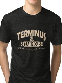 Terminus Steakhouse geek funny nerd Tri-blend T-Shirt
