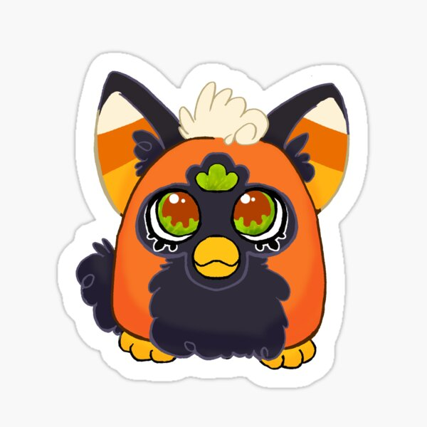 Furby Halloween Candy Corn Caramel Apple Sticker