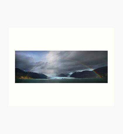 Rainbow over Amalia glacier  Art Print