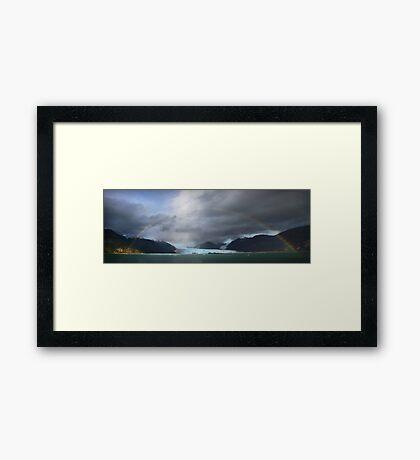 Rainbow over Amalia glacier  Framed Print