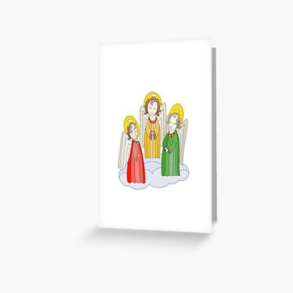 Angel Trio on a Cloud Greeting Card