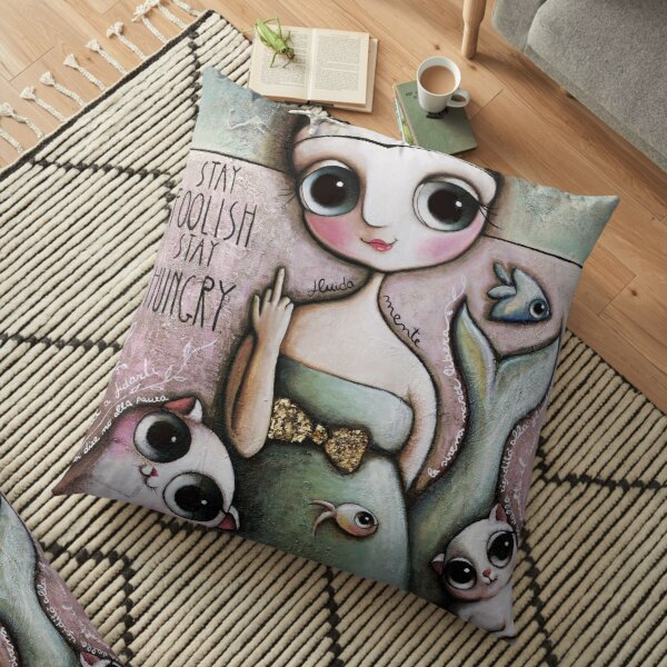 Mermaid middle finger, with big eyes and cats, art by Margherita Arrighi Floor Pillow