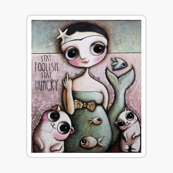 Mermaid middle finger, with big eyes and cats, art by Margherita Arrighi Sticker