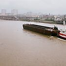River Barge Heading Downstream by Steven Newton