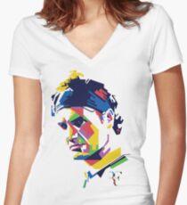 Roger Federer art Women's Fitted V-Neck T-Shirt
