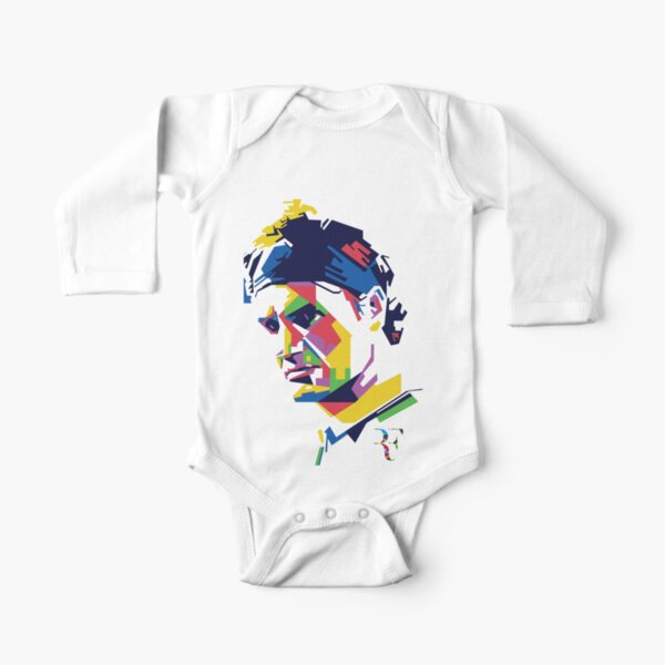 Roger Federer art Long Sleeve Baby One-Piece