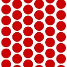 Red Bubbles Maze Pattern Red & White by EvePenman