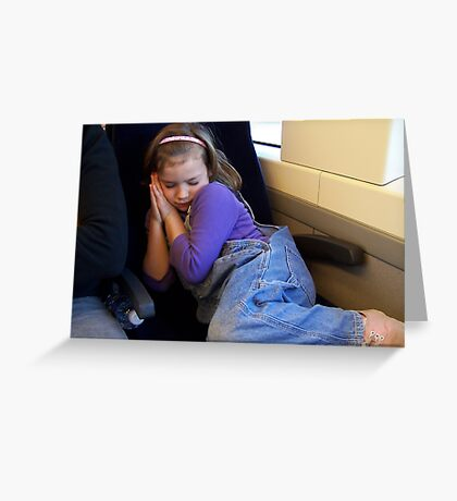 Snoozing on a Train Ride Greeting Card