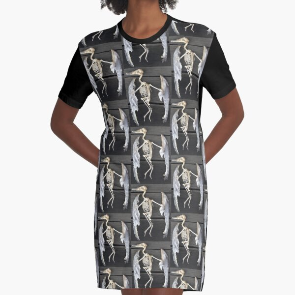 Found bird Skeleton - photography Graphic T-Shirt Dress