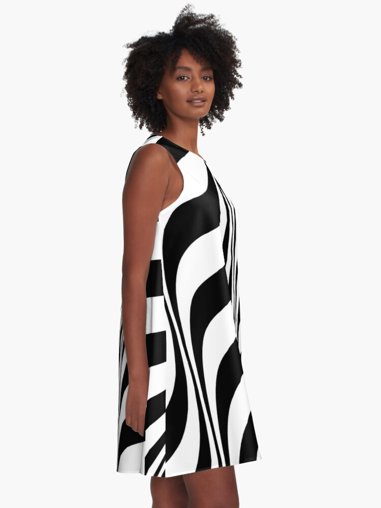 Alternate view of Black And White Optical Illusion Graphic A-Line Dress