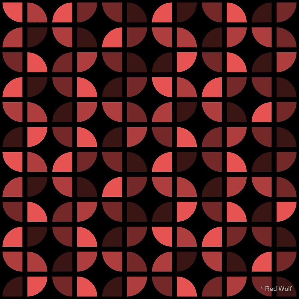 Geometric Pattern: Quarter Circle: Dark/Red by * Red Wolf