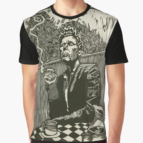 Tom Waits Smoking a Cigarette Graphite Artwork Graphic T-Shirt