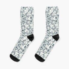 Stained Glass Mandala - Navy & White  Sock