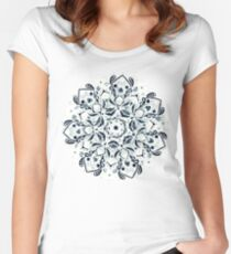 Stained Glass Mandala - Navy & White  Fitted Scoop T-Shirt
