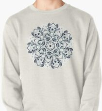 Stained Glass Mandala - Navy & White  Pullover Sweatshirt