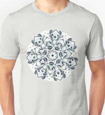 Stained Glass Mandala - Navy & White  Slim Fit T-Shirt