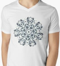 Stained Glass Mandala - Navy & White  V-Neck T-Shirt