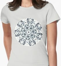 Stained Glass Mandala - Navy & White  Fitted T-Shirt