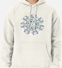 Stained Glass Mandala - Navy & White  Pullover Hoodie