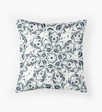 Stained Glass Mandala - Navy & White  Throw Pillow
