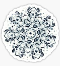 Stained Glass Mandala - Navy & White  Sticker