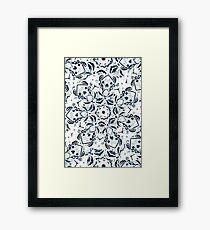 Stained Glass Mandala - Navy & White  Framed Print