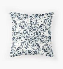 Stained Glass Mandala - Navy & White  Floor Pillow