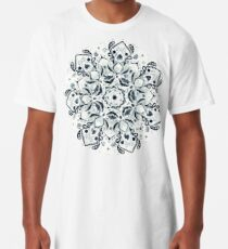 Stained Glass Mandala - Navy & White  Long T-Shirt