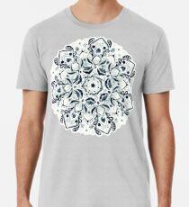 Stained Glass Mandala - Navy & White  Premium T-Shirt