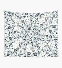 Stained Glass Mandala - Navy & White  Wall Tapestry