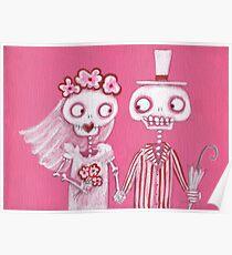Pink Skelly Bride and Groom Poster