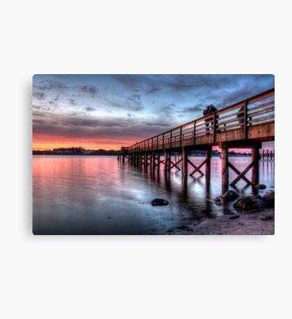 Love on a dock Canvas Print