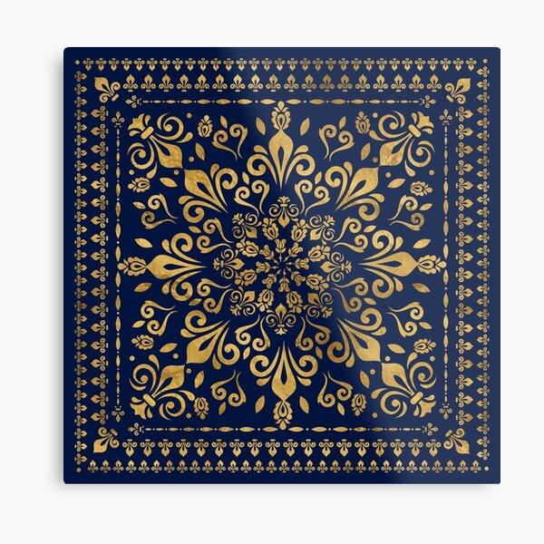 Oriental Damask Ornament - Gold on dark blue #3 Metal Print