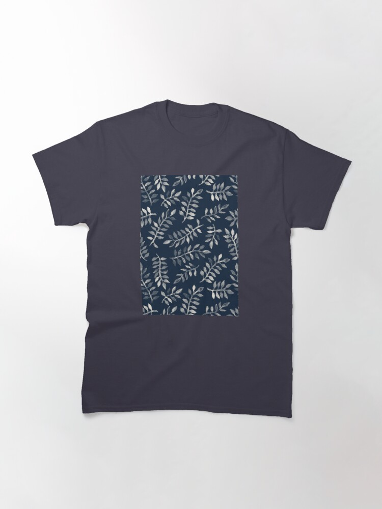 Alternate view of White Leaves on Navy - a hand painted pattern Classic T-Shirt