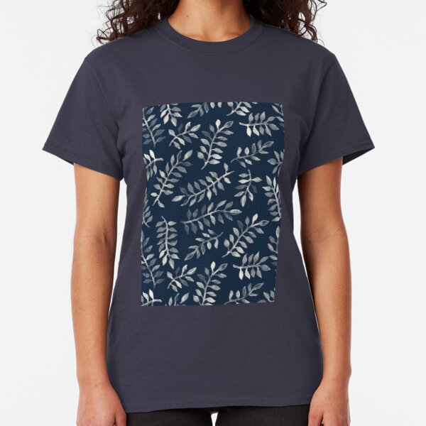 White Leaves on Navy - a hand painted pattern Classic T-Shirt