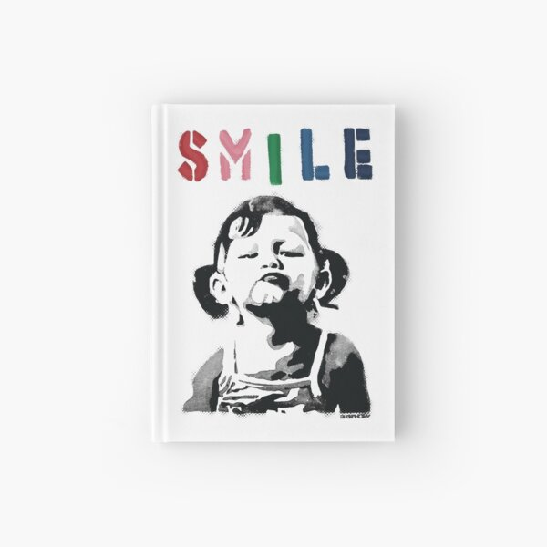 Banksy graffiti Quote SMILE with girl not smiling Girl Power resistance HD HIGH QUALITY ONLINE STORE Hardcover Journal