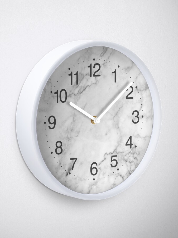 Alternate view of White Marble texture floor background with dark gray grey texture greek marble print luxuous real marble Clock