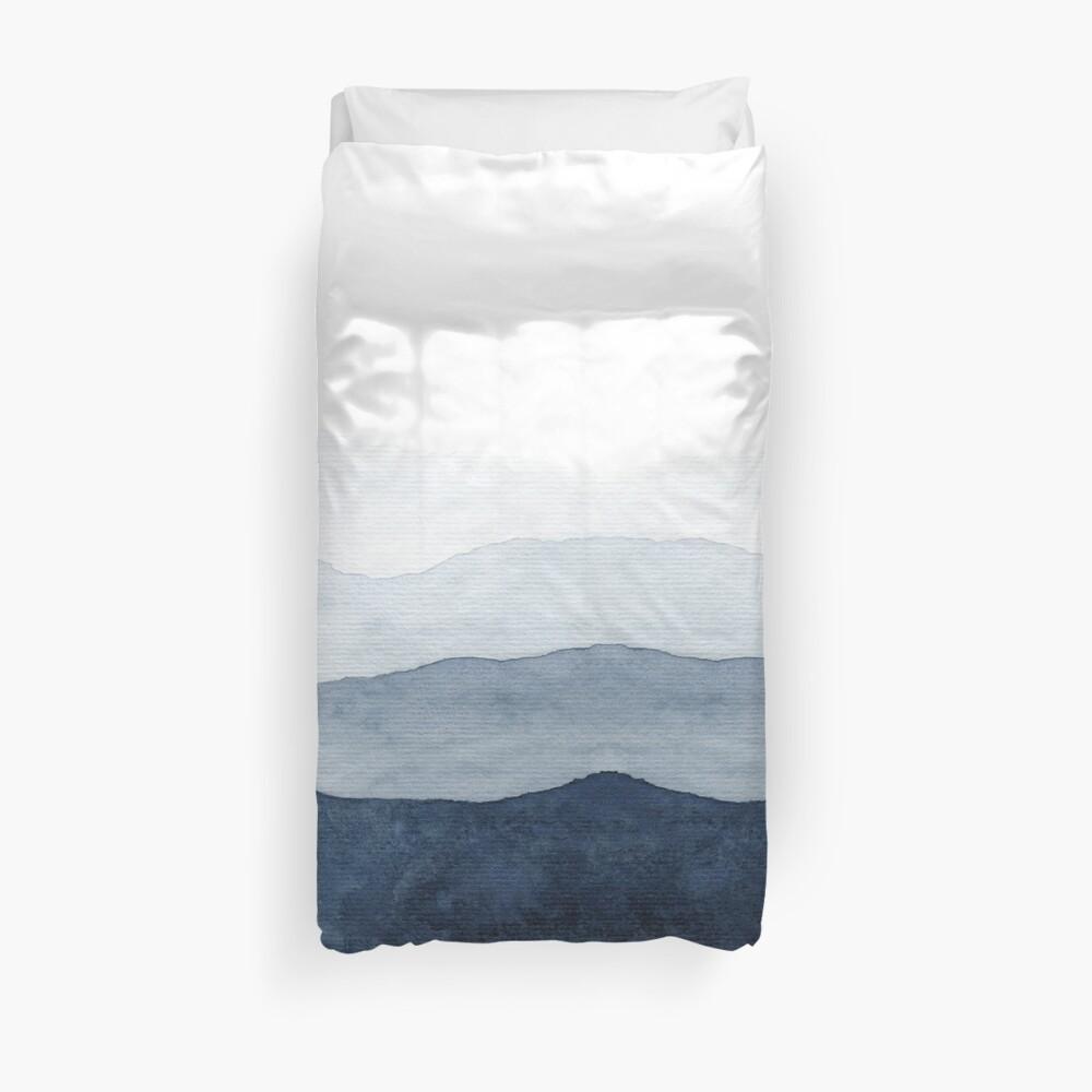 Mountains Ombre | Indigo Abstract Watercolor Duvet Cover